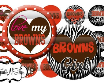Instant Download Bottle Cap Image Sheet - Browns - 1 inch Circles