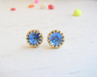 Valentines Day SALE - Royal blue studs earrings - Royal blue Earrings - Royal blue Post Earrings, Blue Royal Studs - Vintage blue earringd