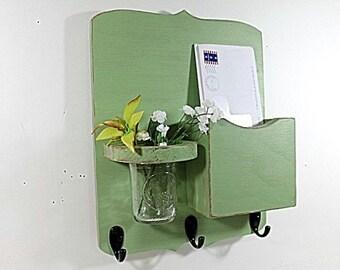 Mail organizer, floral vase, mail holder, key hooks, vintage, sconce, organizer, distressed, shabby chic, home decor,painted Garden Green