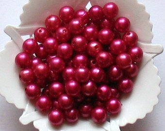 Beads Plastic Red 7mm Round 45 pcs Pearl shell