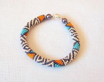 Beadwork - Beaded Crochet Bracelet - Colorful - Abstract Beaded Bangle - Round Chunky Bangle - Geometric Design Bracelet