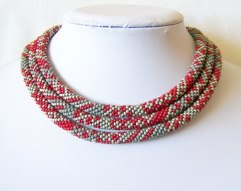 Long Beaded Crochet Rope Necklace - Beadwork necklace - Wrap necklace - Geometric necklace - Patchwork necklace Red - Grey - Silver
