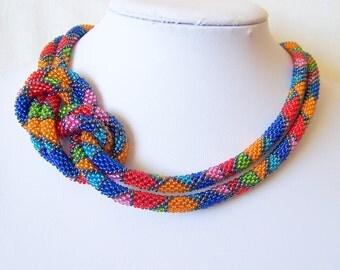 Long Beaded Crochet Rope Necklace - Beadwork - Seed beads jewelry - Elegant - Geometric  - Patchwork - Blue red pink orange green