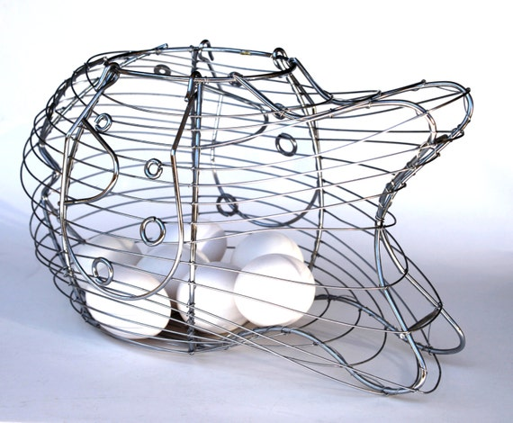 Fish shaped wire egg basket with handles for fruit shopping for Fish wire basket