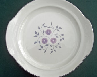 Homer Laughlin Century Service Anniversary Pattern - Tab Handled Cake Plate - Lilac Lavender Grey