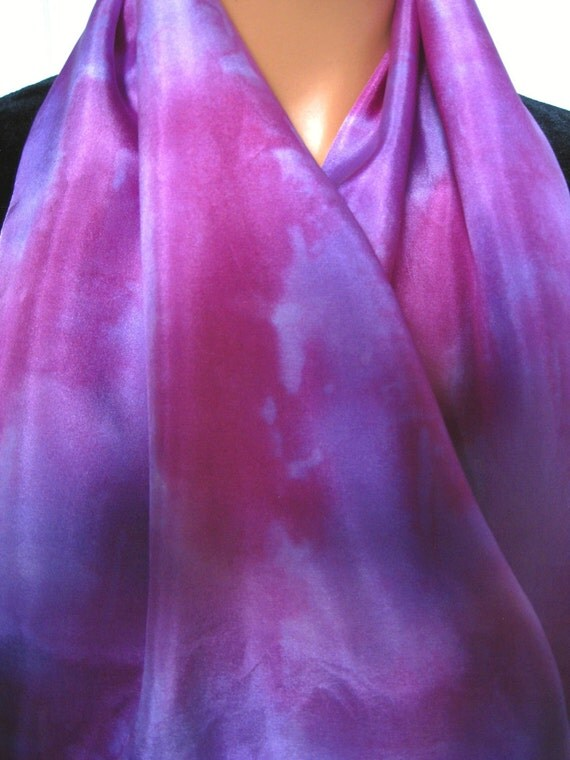 Sugar Plum and Cotton Candy Silk Scarf. Hand Dyed Silk Scarf in Pink & Light Purple. 11x60 inch Silk Scarves. Hand Painted Silk Scarf.