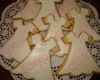 Christening, Baptism, First Communion, Shower Decorated  Gown Sugar Cookies  - 1 Dozen