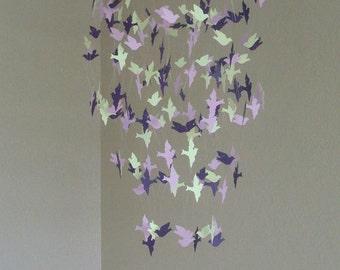Lavender bird mobile, crib mobile, teen room decor, nursery mobile, baby shower gift, baby shower decor, baby boy decor, girl decor