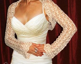 LACE BRIDAL BOLERO / Crocheted Shrug / Wedding Handmade Bolero / Elegant Cotton Long Sleeve Bolero / Vintage Inspired Wedding
