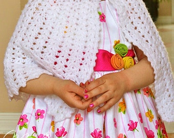 First Communion Cape / Communion Poncho for Girls / White Crocheted Cape for Girls / Handmade Poncho