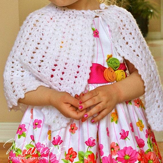 Crochet Pattern Communion Cape : Flower Girl Cape / First Communion Cape / by ...