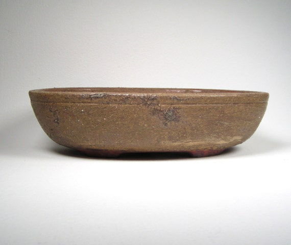 Ash Brown Oval Bonsai Pot Banded Succulent Planter Shallow