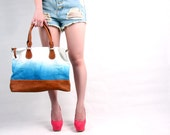 Hand Dyed Leather Bag in Light Blue and White