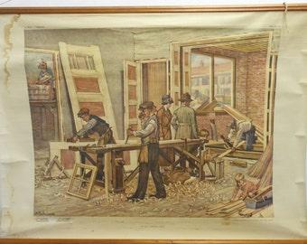 Vintage Belgian School Chart of Carpentry Workshop