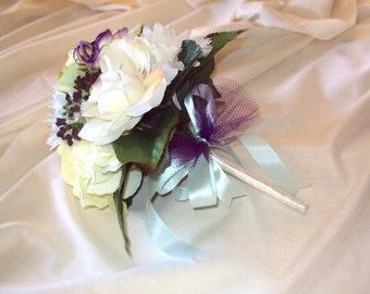 White Rose, Gerbera Daisy, Hydrangea w/ Violet Accents Wedding Flower Bouquet