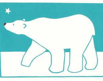 Polar bear lino print