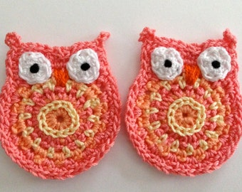 Crochet Applique Owls -- Pink and Yellow