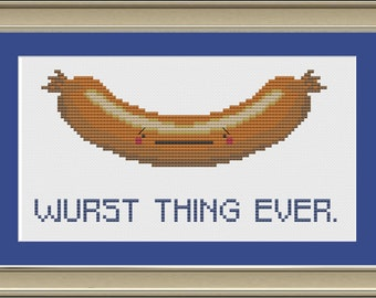 Wurst thing ever: funny sausage cross-stitch pattern