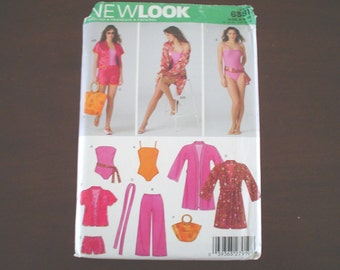 8-18 Swimsuit Yoga Pants Cover-up Robe Shorts PATTERN New Look 6381 uncut