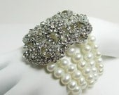 Multi Strand Pearl Bridal Bracelet, Victorian Pearl & Rhinestone Jewelry, Wedding Bridal Statement Bracelet, Gatsby Wedding