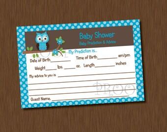 INSTANT DOWNLOAD Blue Owl Baby Shower Advice Prediction Card Boy U-Print polka dot boy girl neutral
