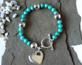 Turquoise Howlite Bracelet, with Sterling Silver Heart - The Tuscon Bracelet
