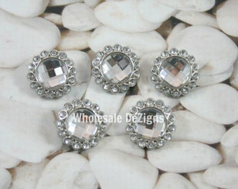 Clear Rhinestone Buttons - Acrylic - 23mm - Set of 5
