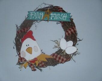Primitive chicken wreath