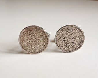 1963 Silver Coin Cufflinks, British 1963 Lucky Sixpence, 1963. 51st Birthday present