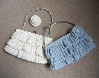 Metal frame Frill Hand bag Clutch Ruffle and Rose knitting pattern DOWNLOAD