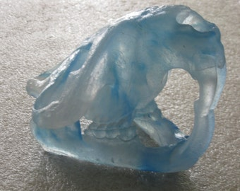 Lead Crystal Beaver Skull by artist Lee D Ring