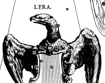 Constellation map, Zodiac, Antique prints, Lyra, 110