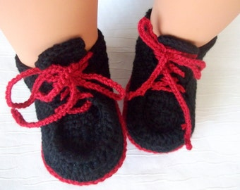 Crocheted Converse Style Black and Red Baby Booties-Converse Style Booties-Bootees-Shoes