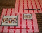set of two Japanese zen fabric table mat pink and red table mats