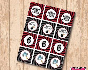 DIY Printable Spy Party Cupcake Toppers/Accent Labels