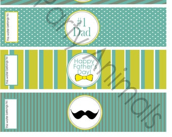 DIY Printable Fathers day Water Bottle Labels INSTANT DOWNLOAD
