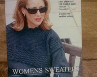 Knitting Pattern Book Womens Sweaters Size 14 plus