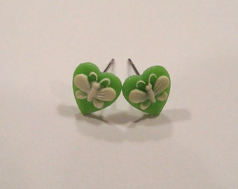 Green Butterfly Vintage Cameo Earrings, Heart Studs, Spring Jewelry, Gifts for Her Mothers Day
