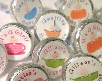 Baby Shower Favors - Personalized Baby Shower Hershey Kiss Stickers - Baby In A Peapod, Teacup, Pumpkin, Umbrella - Baby Shower Kisses