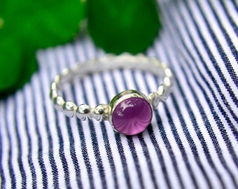 Pink Sapphire Stacking Ring, Sterling Silver Ring with Pink Sapphire Gem, Bridesmaids Gifts, October Birthstone