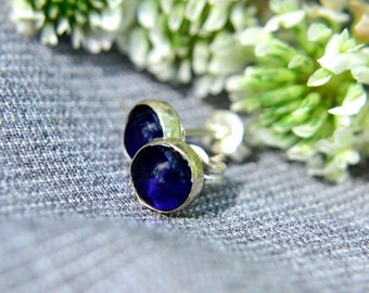 Sapphire Post Earrings, Sterling Silver Stud Earrings with Blue Sapphire Gemstones