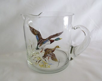 Glass Pitcher with Waterfowl  Serving Barware