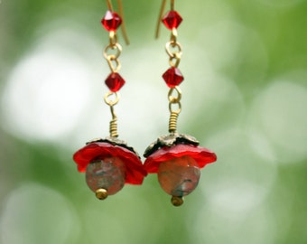 Upside Down Red Lucite Flower and Crystal Beaded Earrings
