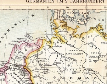1902 The Holy Roman Empire and Magna Germania in the early 2nd Century Antique Map - printed in 1902