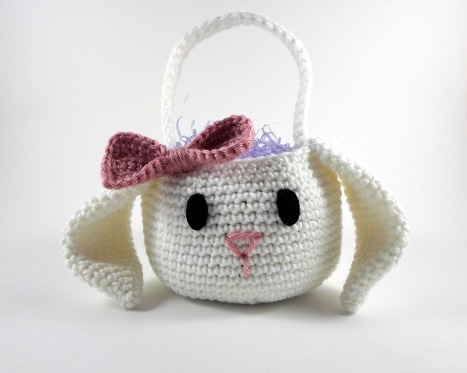Free Crochet Patterns For Easter Bunny Baskets : Easter Bunny Basket Crochet Easter Basket Bunny by ...