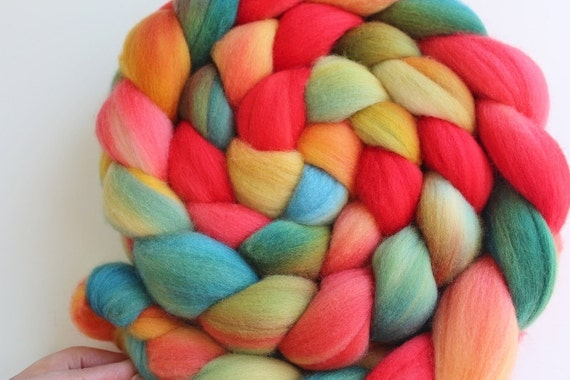 PARROT Merino Top Roving Hand dyed 4 ounces