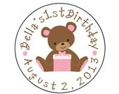 Personalized PRINTED girl baby bear sticker girl baby shower favor stickers pink bear address labels teddy bear stickers
