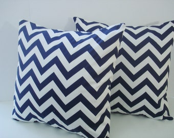 """Pillow Covers Set Of Two  Blue """" Chevron """" 20 X 20  Accent Pillows   Throw Pillows   Decorative Throw Pillows"""