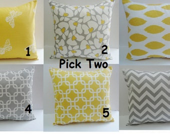 Pillows Yellow Gray One Lovely 20 x 20 Decorative Throw Pillows . Accent Pillows. Chevron Throw Pillow Covers Fabric front & back