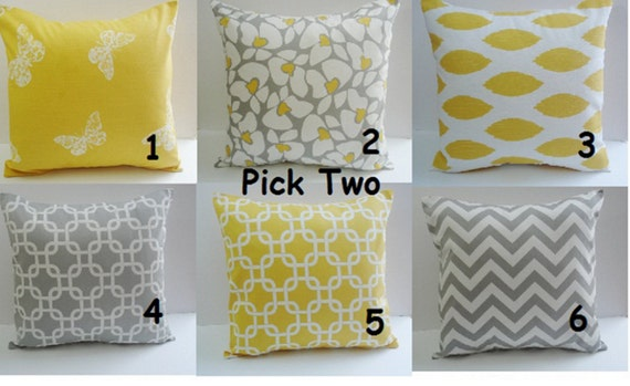 items similar to sale yellow pillows two